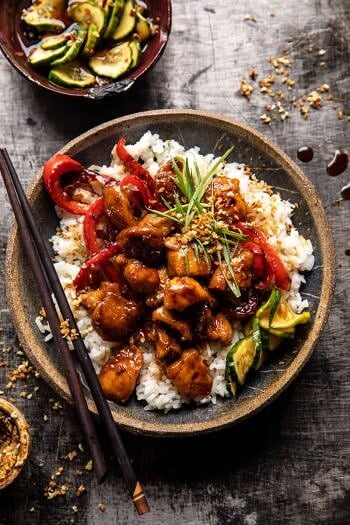 Weeknight Sesame Teriyaki Chicken with Ginger Rice.