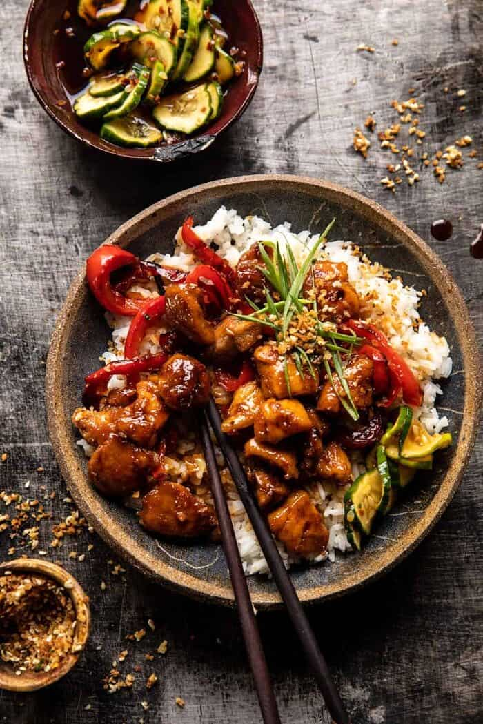 overhead photo of Weeknight Sesame Teriyaki Chicken with Ginger Rice with chopsticks in bowl