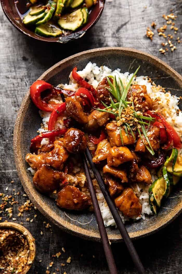 overhead close up photo of Weeknight Sesame Teriyaki Chicken with Ginger Rice
