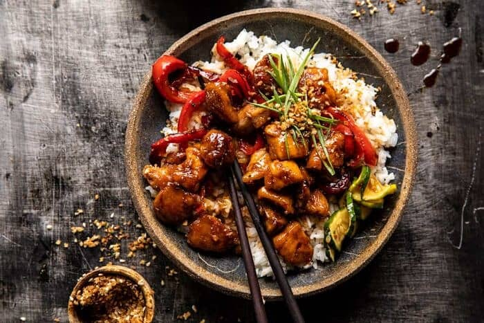 overhead photo of Weeknight Sesame Teriyaki Chicken with Ginger Rice