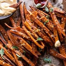 Garlic Parmesan Sweet Potato Fries with Spicy Aioli.