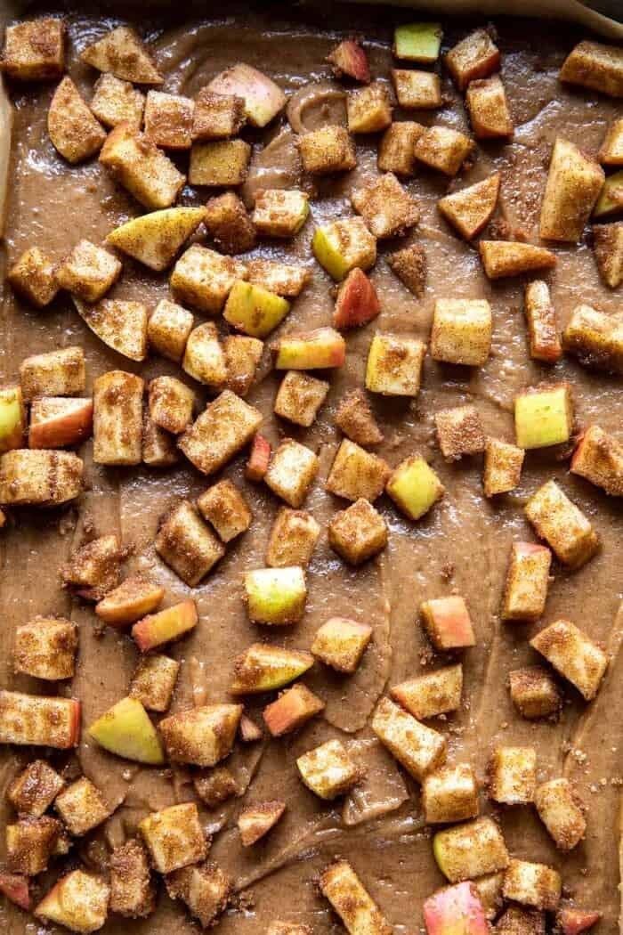 overhead prep photo of Brown Butter Apple Blondies before baking