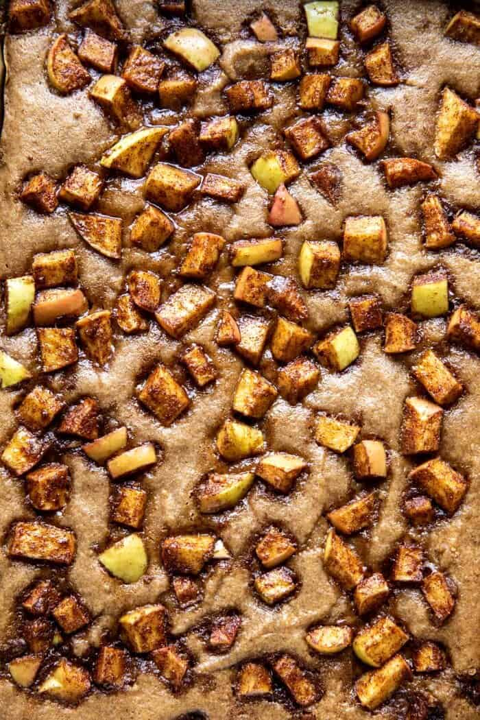 overhead close up prep photo of Brown Butter Apple Blondies after baking