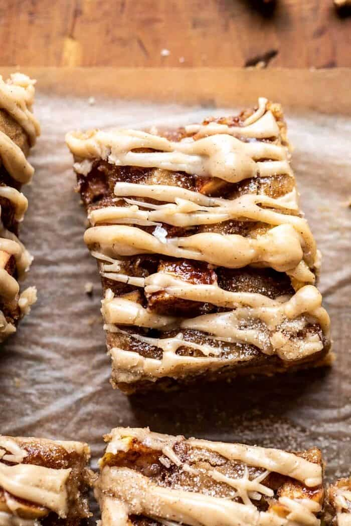 overhead close up photo of Brown Butter Apple Blondies with Cinnamon Maple Glaze