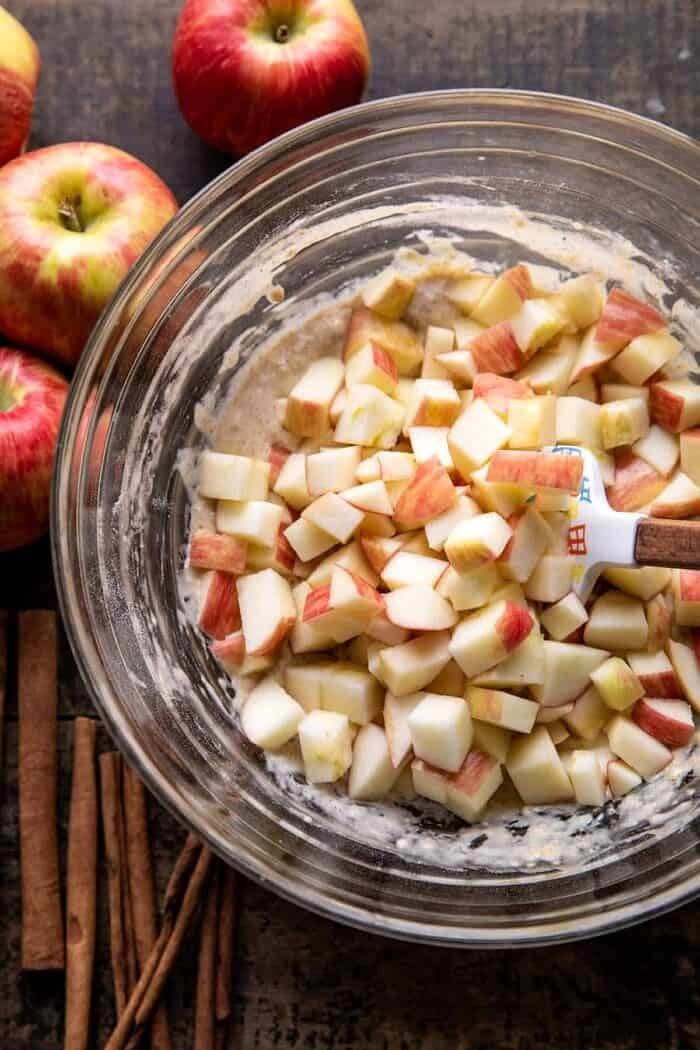 prep photo of mixing apples into the fritter batter