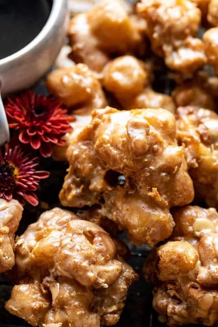 overhead close up photo of Cinnamon Spiced Apple Fritters with Vanilla Coffee Glaze