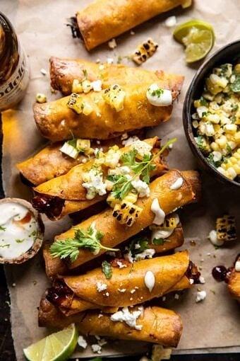 Crockpot BBQ Beer Chicken Taquitos with Street Corn Salsa | halfbakedharvest.com