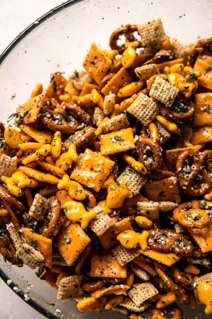 prep photo of snack mix before baking