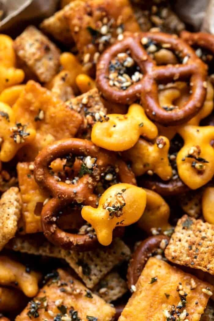overhead close up photo of Everything Ranch Cheese and Pretzel Snack Mix