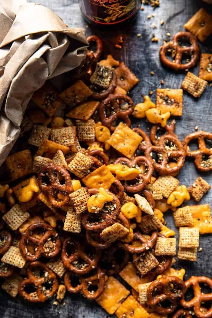 Everything Ranch Cheese and Pretzel Snack Mix | halfbakedharvest.com