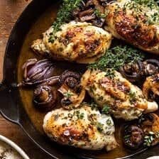 Herbed Ricotta Stuffed Chicken In White Wine Pan Sauce.