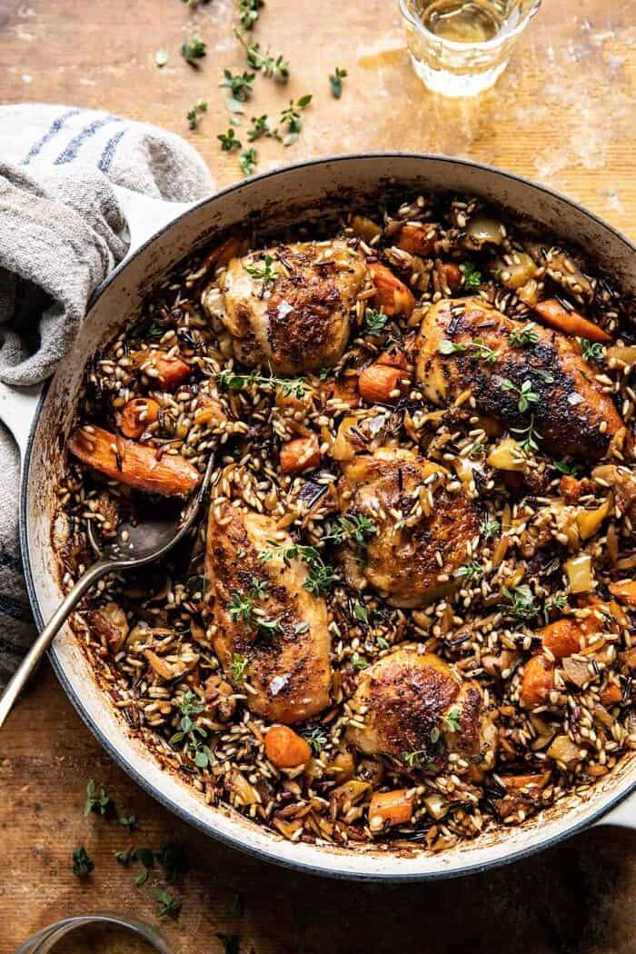 One Pot Lemon Rosemary Dijon Chicken and Butter Toasted Rice Pilaf | halfbakedharvest.com