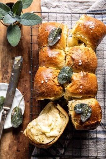 Pull Apart Parmesan Sage Butter Brioche Rolls | halfbakedharvest.com