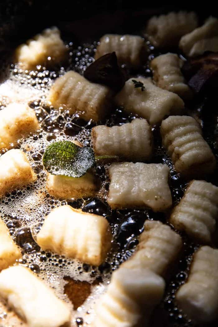 Ricotta Gnocchi with Herby Mushrooms and Sage Browned Butter | halfbakedharvest.com