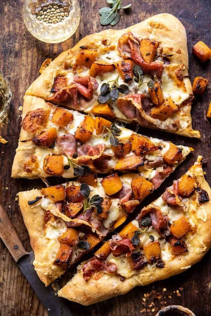 overhead photo of Roasted Butternut Squash Prosciutto Pizza with Caramelized Onions