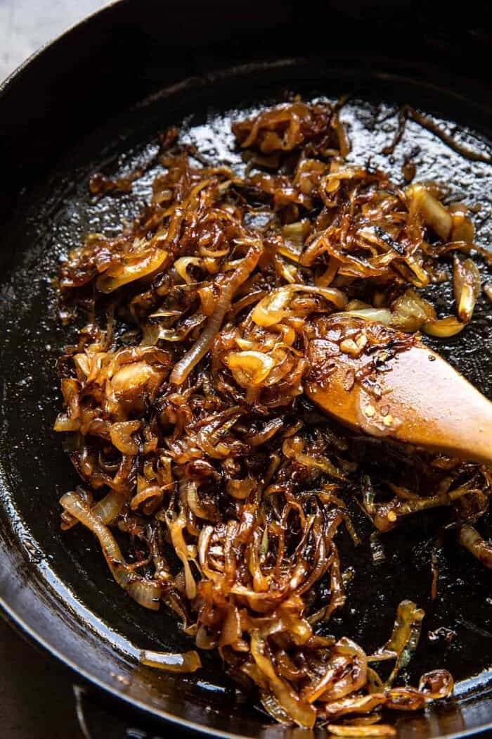 overhead prep photo of Caramelized Onions in skillet