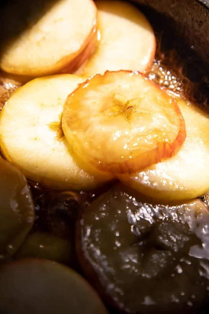 prep photo of apples cooking in maple