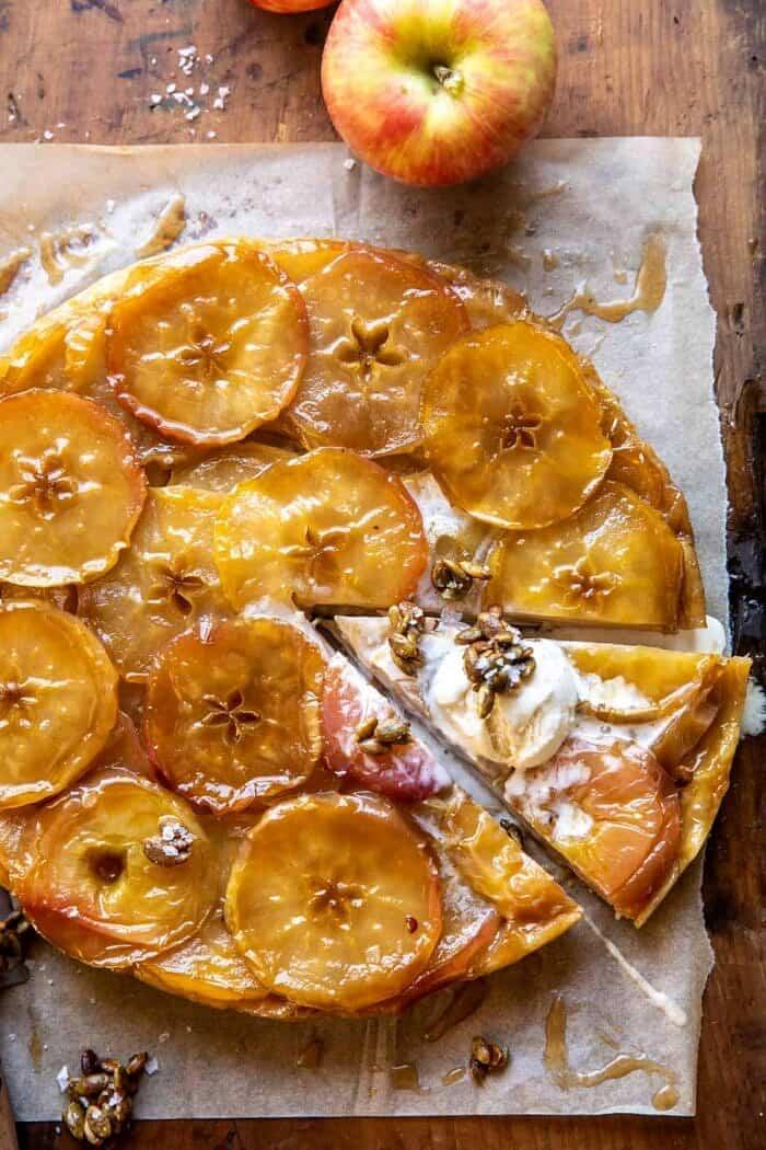 overhead photo of Salted Maple Apple Tarte Tatin with Cinnamon Pumpkin Seeds