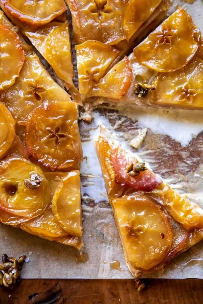 overhead close up photo of Salted Maple Apple Tarte Tatin with Cinnamon Pumpkin Seeds