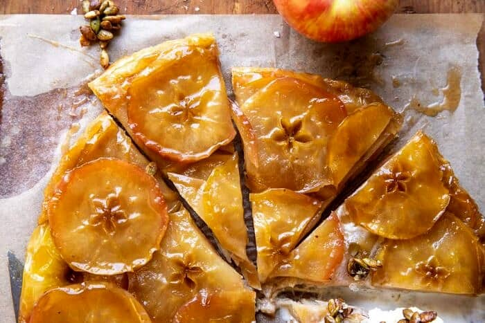 overhead horizontal photo of Salted Maple Apple Tarte Tatin with Cinnamon Pumpkin Seeds