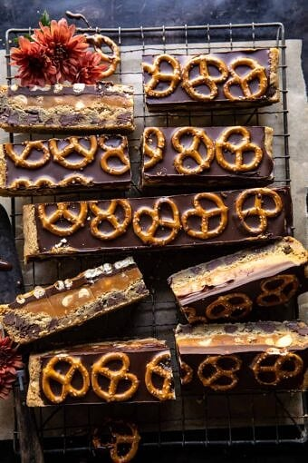 Salted Pretzel Chocolate Chip Cookie Snickers Bars | halfbakehavrest.com