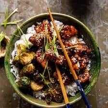 Sheet Pan Sticky Ginger Sesame Chicken and Crispy Brussels Sprouts.