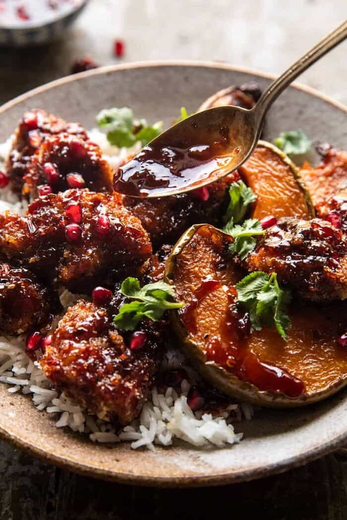 Sheet Pan Sticky Thai Pomegranate Chicken and Honey Roasted Squash | halfbakedharvest.com