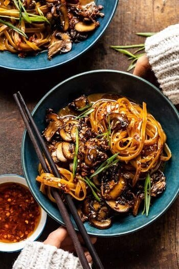 30 Minute Saucy Ginger Sesame Noodles with Caramelized Mushrooms.
