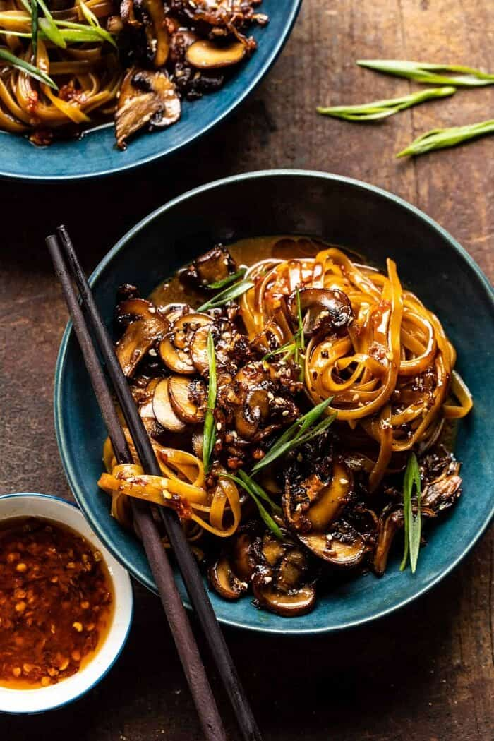 overhead photo of 30 Minute Saucy Ginger Sesame Noodles with Caramelized Mushrooms