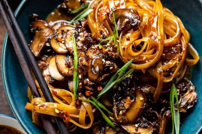 overhead horizontal photo of 30 Minute Saucy Ginger Sesame Noodles with Caramelized Mushrooms