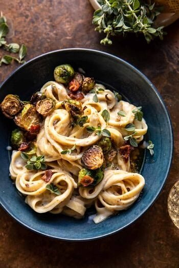 Brown Butter Brussels Sprout and Bacon Fettuccine Alfredo.