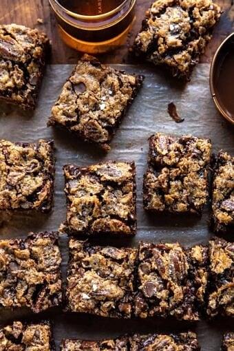 Brown Sugar Maple Chocolate Pecan Pie Bars | halfbakedharvest.com