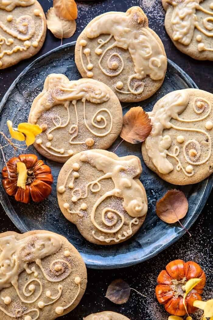 overhead photo of Glazed Brown Sugar Maple Cookies