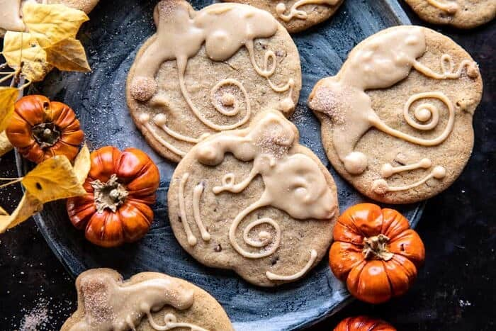 overhead horizontal photo of Glazed Brown Sugar Maple Cookies