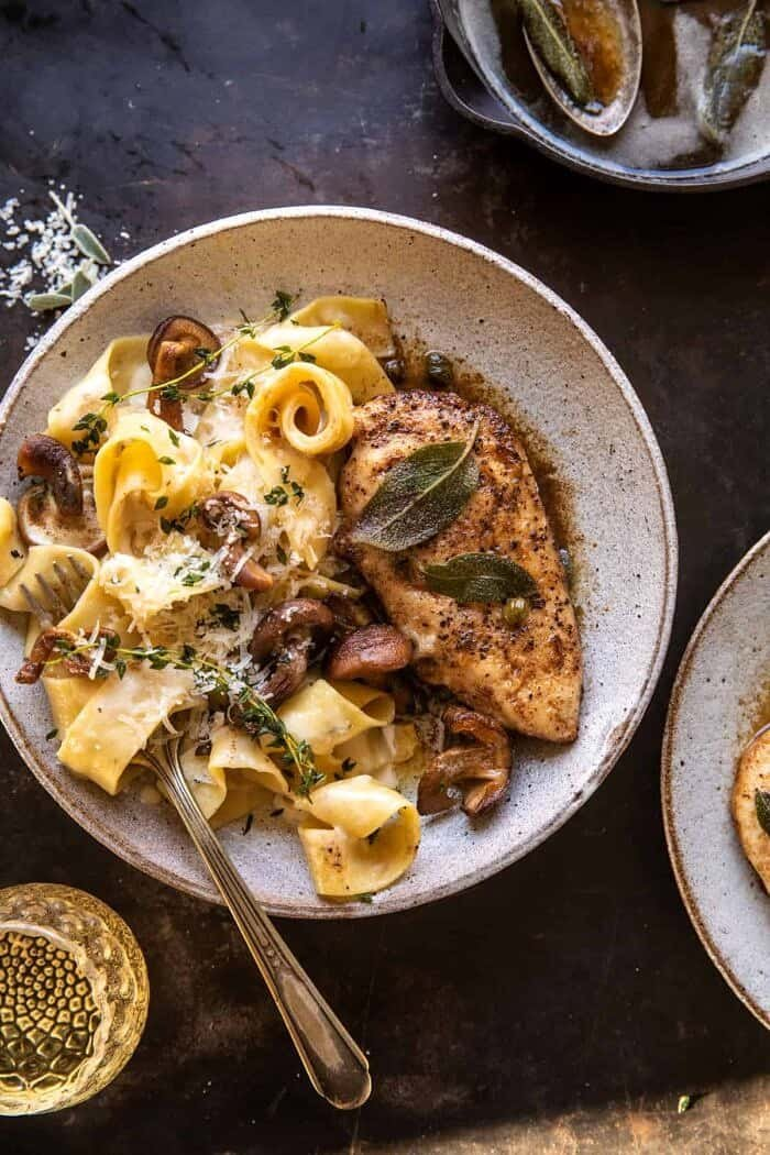overhead photo of Browned Sage Butter Chicken Piccata with Mushroom Pasta