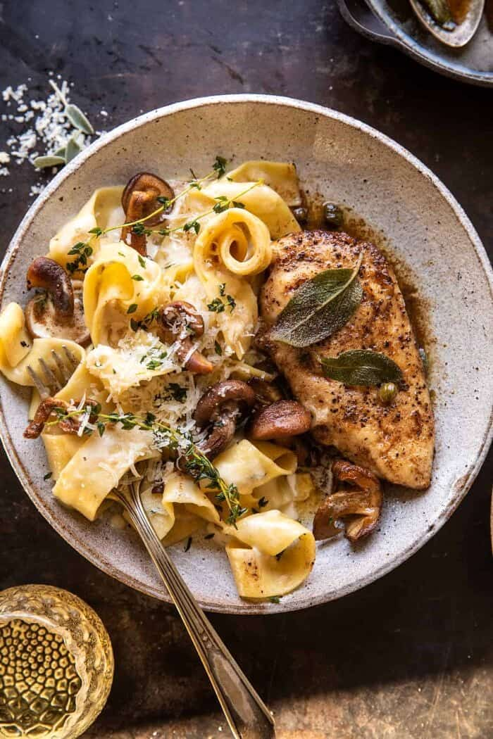 overhead close up of Browned Sage Butter Chicken Piccata with Mushroom Pasta
