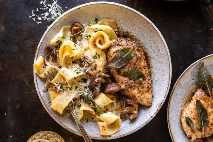 overhead horizontal photo of Browned Sage Butter Chicken Piccata with Mushroom Pasta