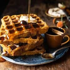 Cider Pumpkin Waffles with Salted Maple Butter | halfbakedharvest.com