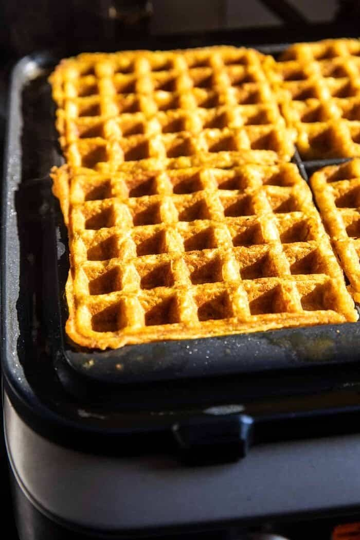 prep photo of the Cider Pumpkin Waffles cooking in the waffle iron