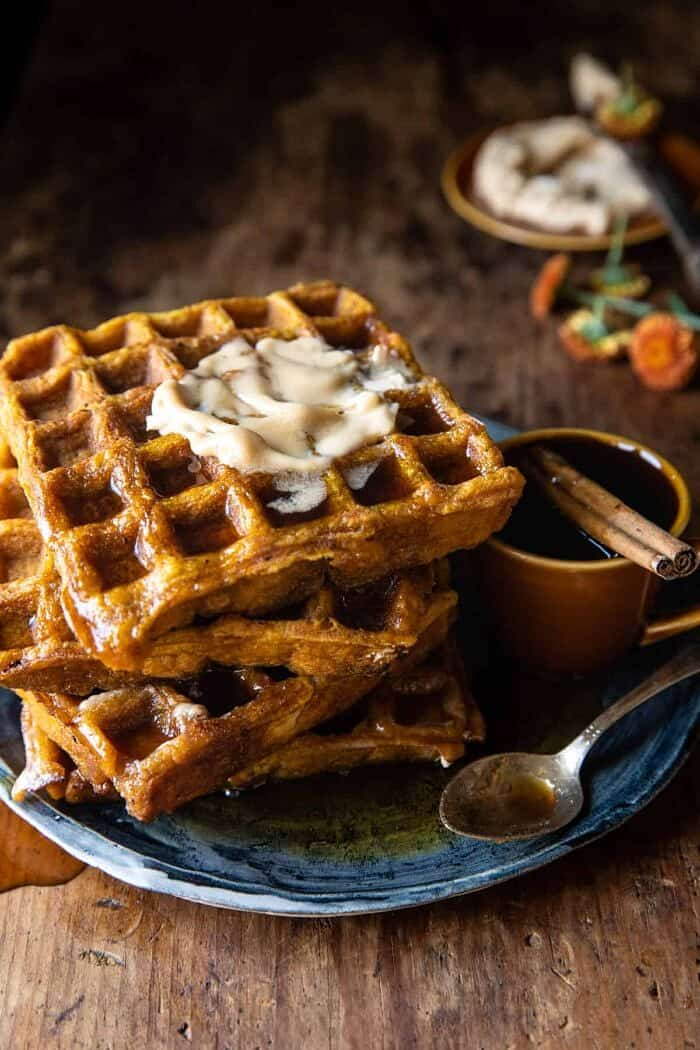 side photo of Cider Pumpkin Waffles with Salted Maple Butter