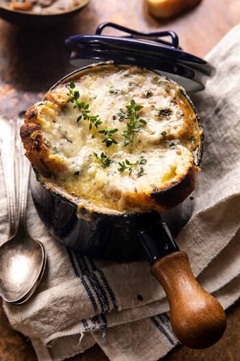 Creamy French Onion and Mushroom Soup.