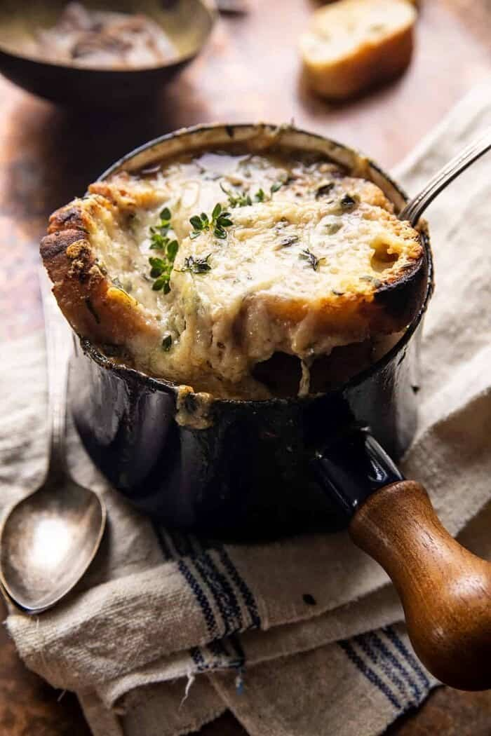 side angled photo of Creamy French Onion and Mushroom Soup