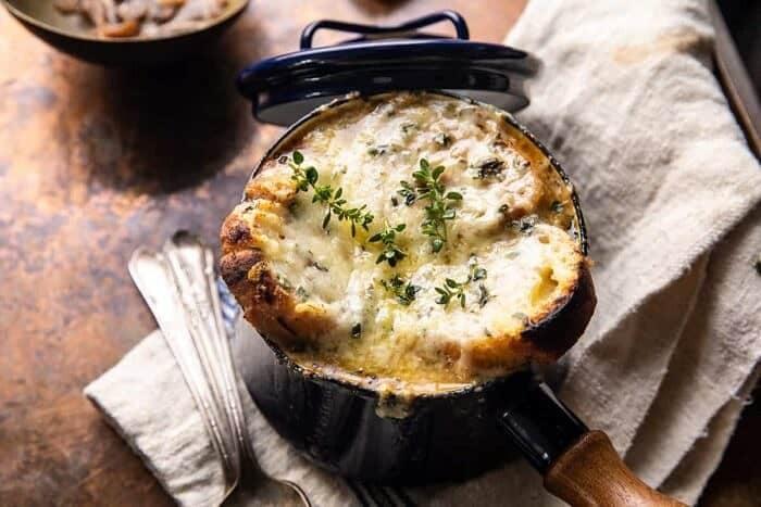 horizontal photo of Creamy French Onion and Mushroom Soup