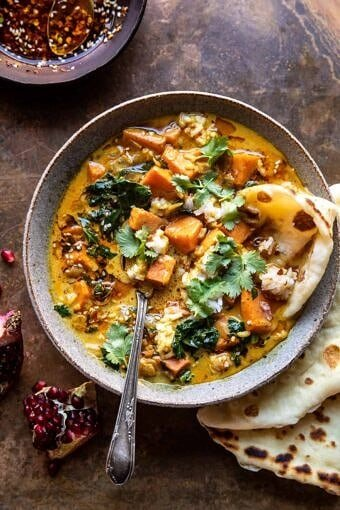 Gingery Coconut Sweet Potato and Rice Stew with Chili Oil | halfbakedharvest.com