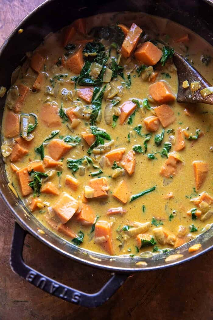 overhead photo of Gingery Coconut Sweet Potato and Rice Stew in pot