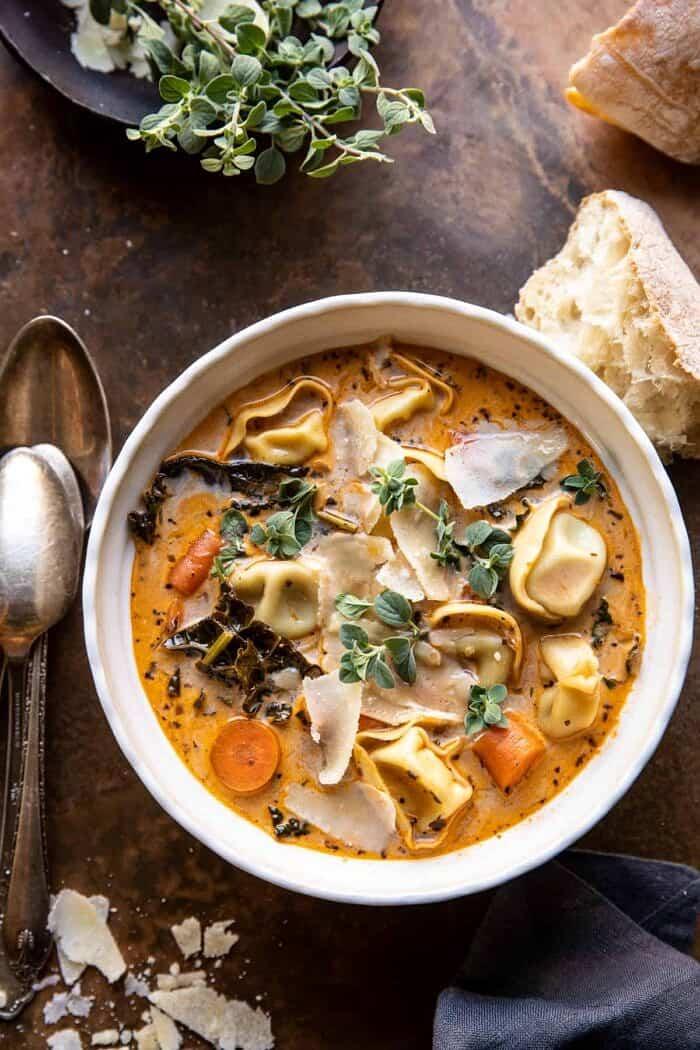 overhead photo of Healthier Slow Cooker Creamy Tortellini Vegetable Soup