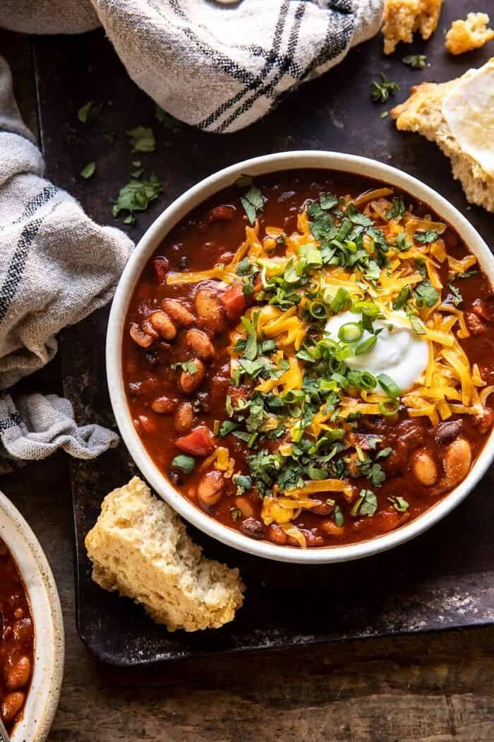 overhead photo of Healthy Slow Cooker Chipotle Bean Chili