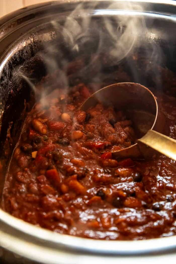prep photo of Healthy Slow Cooker Chipotle Bean Chili cooking in the slow cooker