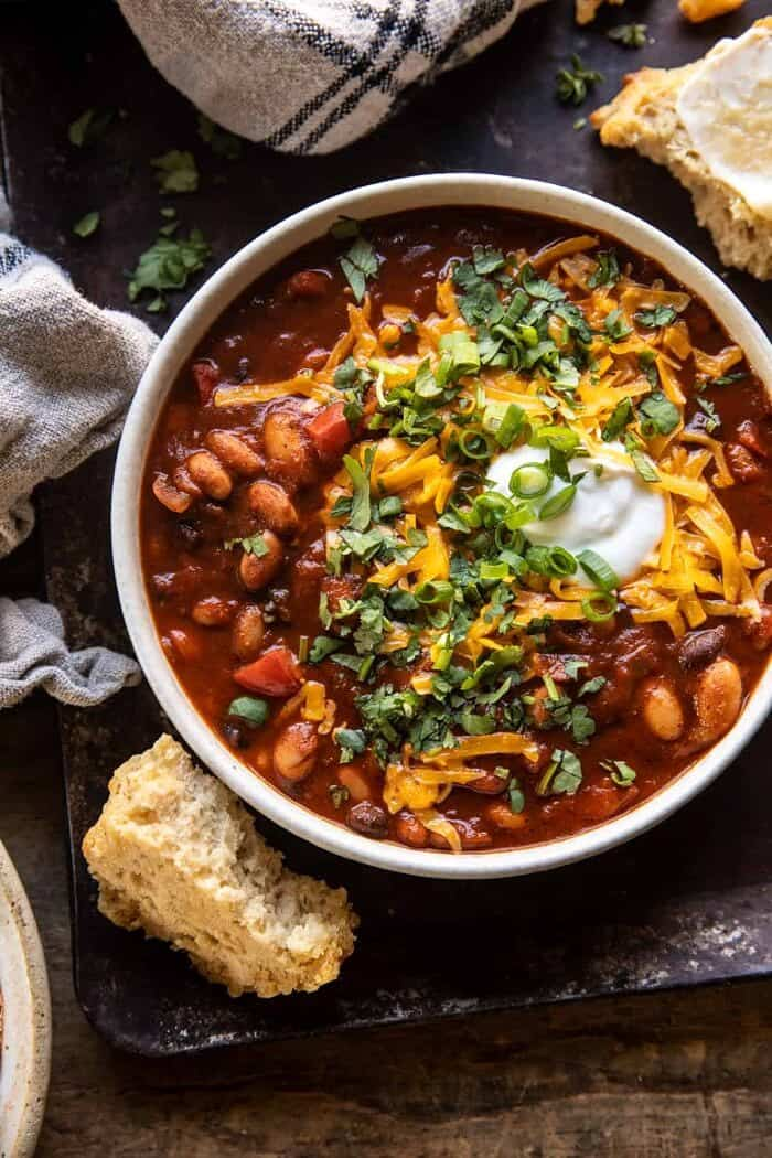 overhead close up photo of Healthy Slow Cooker Chipotle Bean Chili
