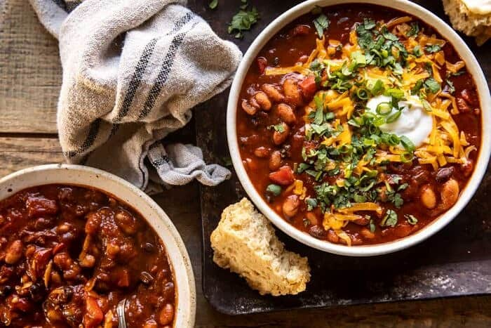 overhead horizontal photo of Healthy Slow Cooker Chipotle Bean Chili